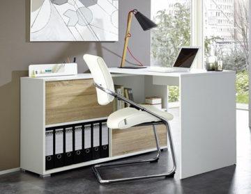 Pisarniška miza z regalom Slide 120x76/60x120cm