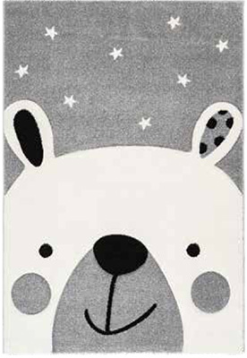 Preproga AMI srebrne/sive barve vzorec medvedek