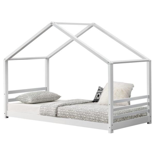 [en.casa]® Hiška postelja otroška postelja v obliki hišice 90 x 200 cm mat bela