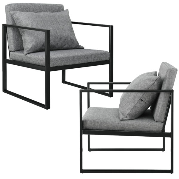 [en.casa]® Dizajnerski fotelj v setu dveh kosov